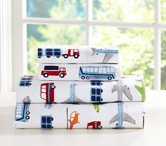 Brody Sheet Set #pbkids Cars, trucks, buses, planes... backorder until April 2015!! Top choice -- goes with his curtains and that style of bedding -- navy blue & lime green