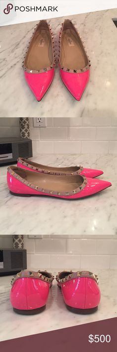 Valentino Rockstuds Flats 100% Authentic Valentino Rockstuds in Bright Pink. A must have to have in your collection! Only worn a few times, almost new condition. Absolutely no scuffs, scratches, or missing studs. Box and dust bag come with the shoes. Thank you for looking! Valentino Shoes Flats & Loafers