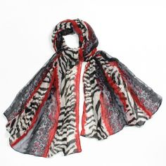 http://www.artfire.com/ext/shop/studio/bohemiantouch/1/1/10311//  Black and Red Leopard Zebra Print Soft Touch Women Shawl Scarf, scarf is a great addition to your collection of fashion accessories. Perfect for all year round.