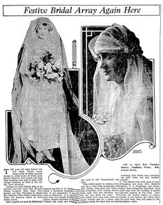 "Bridal fashions, published in the Omaha World-Herald (Omaha, Nebraska), 2 February 1919, page 29. Read more on the GenealogyBank blog: ""12 Types of Newspaper Articles for Genealogy Research, Part I"" https://blog.genealogybank.com/for-the-12-days-of-christmas-12-types-of-newspaper-articles-for-genealogy-research-part-i.html"
