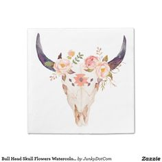 Bull Head Skull Flowers Watercolor Illustration Paper Napkin Oct 5 2016 @zazzle #junkydotcom  2x