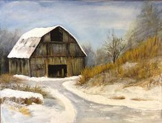 Winter Snow Scene, Old barn in the country, with bare trees and brown grasses. Description from ebsqart.com. I searched for this on bing.com/images