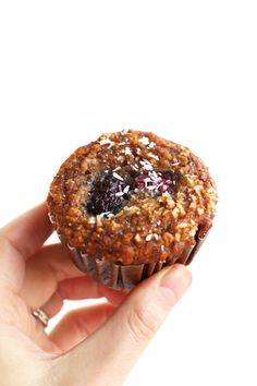 One Bowl Berry Coconut Muffins (Vegan + GF)