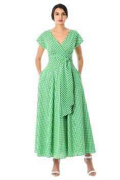 A ruched surplice bodice lends alluring appeal to our gingham check cotton dress, cinched in with a removable self sash tie belt at the wide banded empire waist. Custom Dresses, Modest Dresses, Simple Dresses, Bridesmaid Dresses, Wedding Dresses, Frock Fashion, Fashion Outfits, Women's Fashion, Pretty Outfits