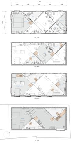 Image 6 of 146 from gallery of Split-Level Homes: 50 Floor Plan Examples. via Tato Architects Osaka, Exhibition Plan, Exhibition Room, Store Plan, Planer Layout, Floor Plan Drawing, Home Plan Drawing, Floor Plan Layout, Showroom Design