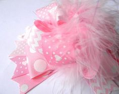 Navy and Pink Hair bows Over the Top Polka by bubblesandcompany
