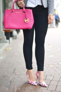 Kate Spade floral pumps brighten any office outfit. Click through for full outfit photos and style ideas.