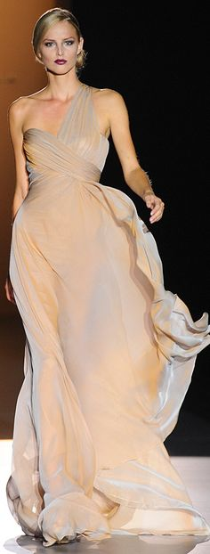 Hannibal Laguna ~ One shoulder Champagne Flowing Gown 2012
