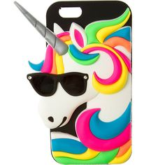 3D Silicone Unicorn with Sunglasses Cover for iPhone 6 | Claire's (£22) ❤ liked on Polyvore featuring accessories, tech accessories, phone cases, tech and claire's