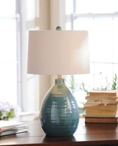 Giselle Blue Ceramic Table Lamp -  Perfect colors that will match our dining room & go perfect on my beautiful buffet!