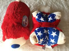 """Adorable Pillow Pets - Patriotic Pup /Stuffed Animal/Toy/Pillow all combined into one! Measures Approx""""19"""" (from tip of nose to tail); Bright Red, White, and Blue patriotic/ USA colors; Super soft chenille and super cute.   eBay!"""