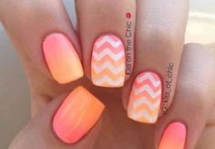 10 Fabulous Ombre Nail Art Designs: #3. Neon Pink and Orange