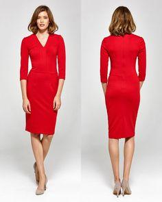 Robe rouge moulante femme crayon fendue arrière CS17 COLETT 36 38 40 42 44 8add4e20ad39