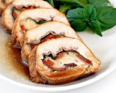 stuffed chicken breast with prosciutto, basil, tomatoes, and mozzarella. Sounds good, may be able to get my husband to eat it. I Love Food, Good Food, Yummy Food, Great Recipes, Favorite Recipes, Yummy Recipes, Lunch Recipes, Recipe Ideas, Recipies