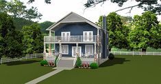 Plan This attractive cottage home not only has plenty of living space but will look great at any lake. The main floor is an open concept Country House Plans, Cottage Homes, Open Concept, Looks Great, Golf Courses, Living Spaces, Flooring, How To Plan, Design
