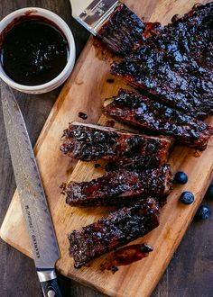 Baby Back Ribs with Blueberry Balsamic Barbecue Sauce. Tender ribs are glazed with the most flavorful barbecue sauce bursting with blueberries. It's sweet and spicy and a whole lot of savory.