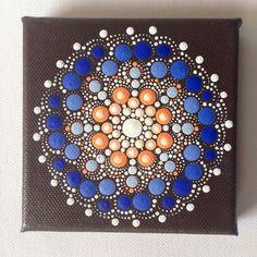 Dotart 10 x 10 Orange bleu Mandala peinture originale sur toile, peinture, bureau et décoration décoration maison cadeau Dotilism Dotart henné Art