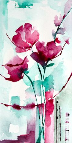 Petit instant N° 301 (Painting), 10x20 cm by Véronique Piaser-Moyen Aquarelle originale sur papier 300 G