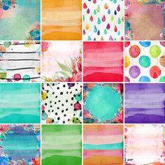 A brand New gorgeous pack of 16 backgrounds, hand painted watercolor style. Backgrounds are 12 inches x 12 inches, High res 300 ppi, and match my Dreamy Florals Watercolor clip art pack here