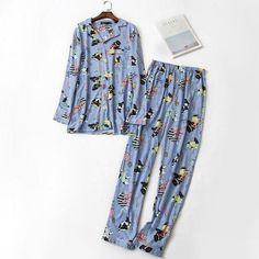 Spring Cartoon Dog Pajama Sets Women Long Sleeve Knitted Cotton Cozy Pijama Larga Mujer Streetwear Homewear Women Pyjama blue do Dog Pajamas, Pajamas Women, Spring Cartoon, Baby Boston Terriers, Cotton Pyjamas, Cartoon Dog, Pajama Set, Street Wear, Long Sleeve