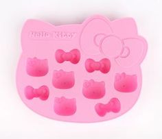 Offer your guests cute and cool Hello Kitty drinks! This pink silicone tray has 9 ice cube cutouts in 2 distinct shapes: Hello Kitty's face and bow. Fun for Hello Kitty fans of all ages. $14.00