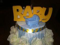 Blue and yellow Baby Shower three tier cake Centerpiece for boy  #design #designsbydazey