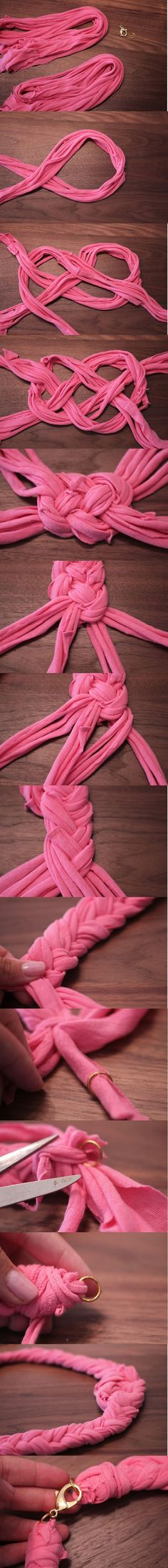 DIY: Use Your Old T-Shirt To Make Necklace.
