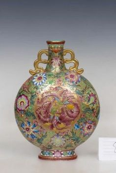 QIANLONG MARK, A FAMILLE ROSE GILT MOONFLASK VASE