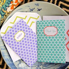 Personalized Folded Cards - Quatrefoil Thank You or Monogram with Lined Envelopes (10). $35.00, via Etsy. # Letter Love Designs