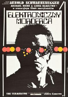 """The Terminator"" Original Vintage Polish Film Poster By Jakub Erol, 1987 Terminator Poster, Terminator 1984, Terminator Movies, Terminator Genesis, Polish Movie Posters, Polish Films, Posters Vintage, Vintage Movies, Arnold Schwarzenegger"