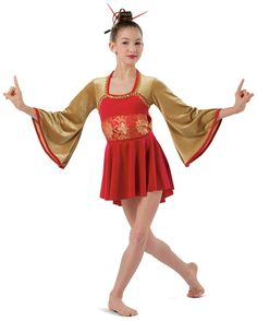 Red and gold velour tunic with attached red spandex shortie unitard. Separate velour and brocade sash. Attached bow, binding and beadette trim. Made in the USA. Chopsticks not available XSC / SC / IC / MC / LC / XLC SA / MA / LA / XLA Nutcracker Costumes, Ballet Costumes, Dance Costumes, Dance Academy, Skating Dresses, Red Dragon, Chopsticks, Tunic, Sash