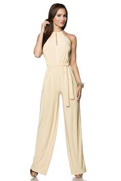 Ausverkauf (**): Overall mit Gürtelband (beige, Gr. S oder XL) (**) Catsuit, Clubwear, Lady, Overalls, Beige, Jumpsuit, Womens Fashion, Ladies Fashion, Shirts