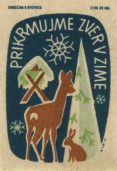czechoslovakian matchbox label, deer, hare, snowflake, illustration, christmas, winter, graphic design, greeting card