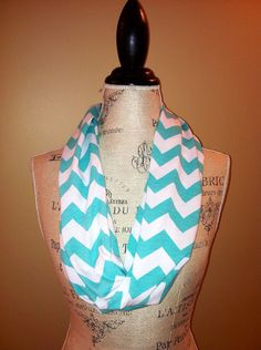 SALE Tiffany blue & White chevron infinity scarf, soft jersey scarf on Etsy, $9.00