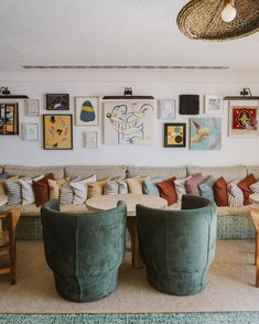 art gallery wall inside little beach house barcelona hotel. Retro Beach House, Soho Beach House, Decoration Inspiration, Interior Inspiration, Living Spaces, Living Room, Large Sofa, Beautiful Space, Mid-century Modern