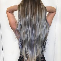 Silver balayage with hints of lavender. #longhair #balayage #silverhair #pastelhair Hair By Mallery