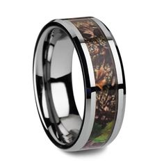 Perfect Forest Camo Wedding Band for Men or Women Tungsten Wedding Band