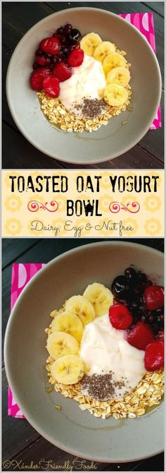Toasted Oat & Yogurt Bowl. Start your morning off right and make your Mama proud with this Healthy, toasted oats yogurt bowl, topped with a fresh berry compote. Vegan, GF & AMAZING