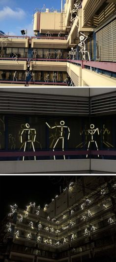 Key Frames | Groupe LAPS light stick figures on balconies in Eindhoven for GLOW 2012 festival <3