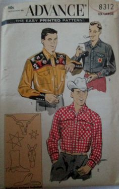 Advance 8312 Mens 50s Western Shirt Chest 46 to 48 by Denisecraft, $12.99
