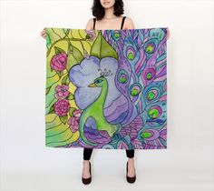 Peacock Garden Silk Scarf, purple peacock stained glass watercolor - shawl accessories, scarves