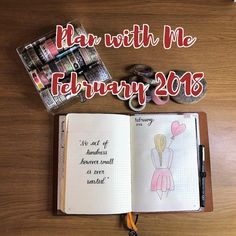 Plan with Me Video setting up for February 2018 in a bullet journal #bujo #bulletjournal #planner