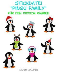 Pingu Family - Stickdatei-Set für den 10x10cm Rahmen