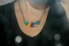 boomerang geometric necklace colorful bib necklace