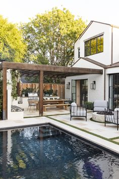 outdoor living space with pool - outdoor living ; outdoor living on a budget ; outdoor living space on a budget ; outdoor living space with pool ; Pool House, Home, Outdoor Kitchen Design, House Exterior, Patio Design, Beautiful Homes, House Tours, Indoor Outdoor Kitchen, Backyard Inspo