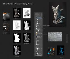 Just FYI: I was asked about the material I used for the renders of my ZBrush sketches a couple of times. It's not always the same, but the process is - . Dude With Silly Hat PROCESS Zbrush Tutorial, 3d Tutorial, Zbrush Render, Silly Hats, Sculpting Tutorials, Digital Sculpting, Normal Map, Photoshop, Never Stop Learning