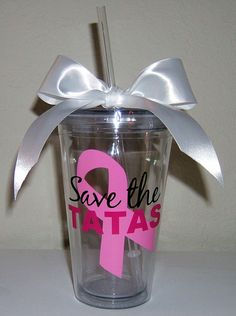 Breast Cancer Save the Tatas 16oz Acrylic Tumbler by SimplySouthernCharms, $16.00