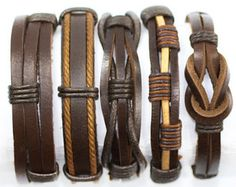 5 Piece Handmade Leather Bracelet Set Men's Leather Bracelet Women's Braided…
