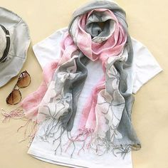 Stylish Fashion Style Maple Leaf Pattern Tassel Decorated Silk Scarf For Women