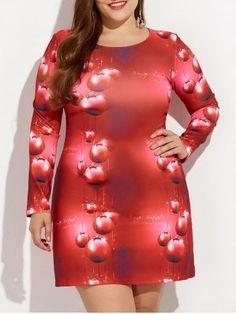 de6da1e43fa4e Shop for RED 5XL Christmas Plus Size 3D Print Long Sleeve Dress online at   12.63 and